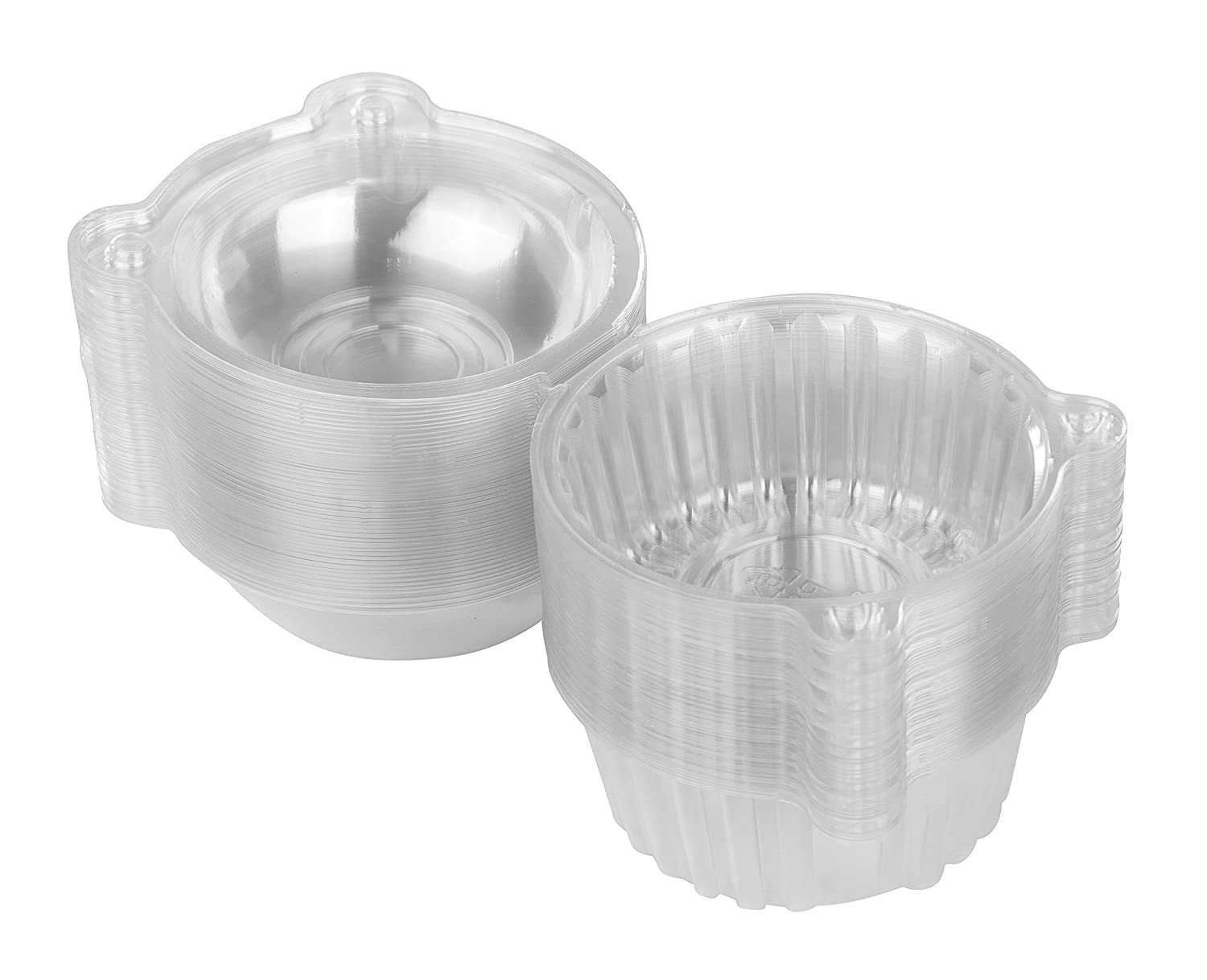 100 Single Individual Cupcake Muffin Holders Clear Plastic Cupcake Dome Holders, Cupcake Pods Carrier Case Boxes With Resealable Lids Premium Disposables PD073-100