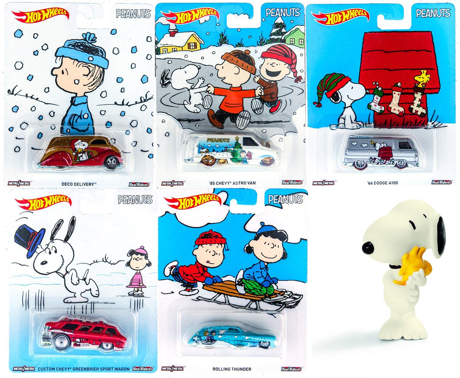 Amazon.com: Peanuts Hot Wheels Snoopy Charlie Brown Christmas Set ...