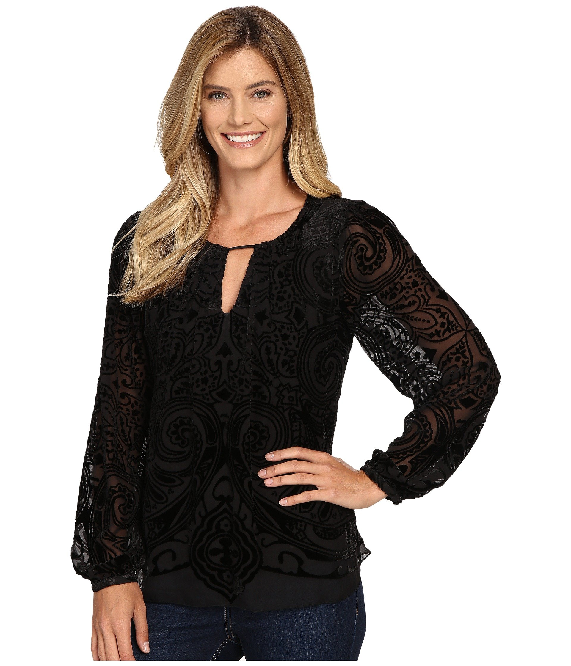 Hale Bob Women's Throughout The Looking Glass Top Black Shirt