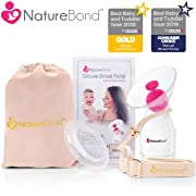 NatureBond Silicone Breastfeeding Manual Breast Pump Milk Saver Suction | All-in-1 Pump Strap, Stopper, Cover Lid, Carry Pouch, Air-Tight Vacuum Sealed in Hardcover Gift Box. BPA Free (Premium Pack)