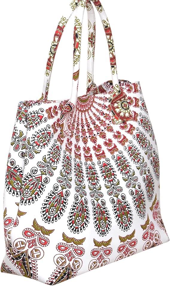Indio algodón Mandala de compras bolso de mano hombro bolsa de transporte bolsa bolso de mano las mujeres Boho Bolso De Hombro Bolsas: Amazon.es: Hogar