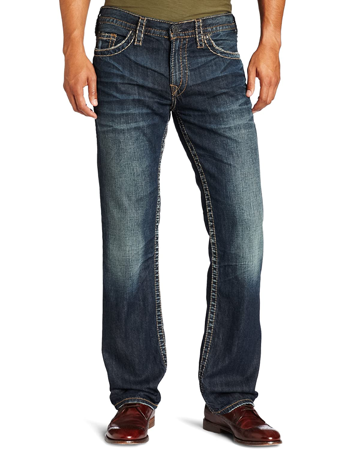Silver Jeans Co. Men's Gordie Loose Fit Straight Leg Jeans: Amazon ...