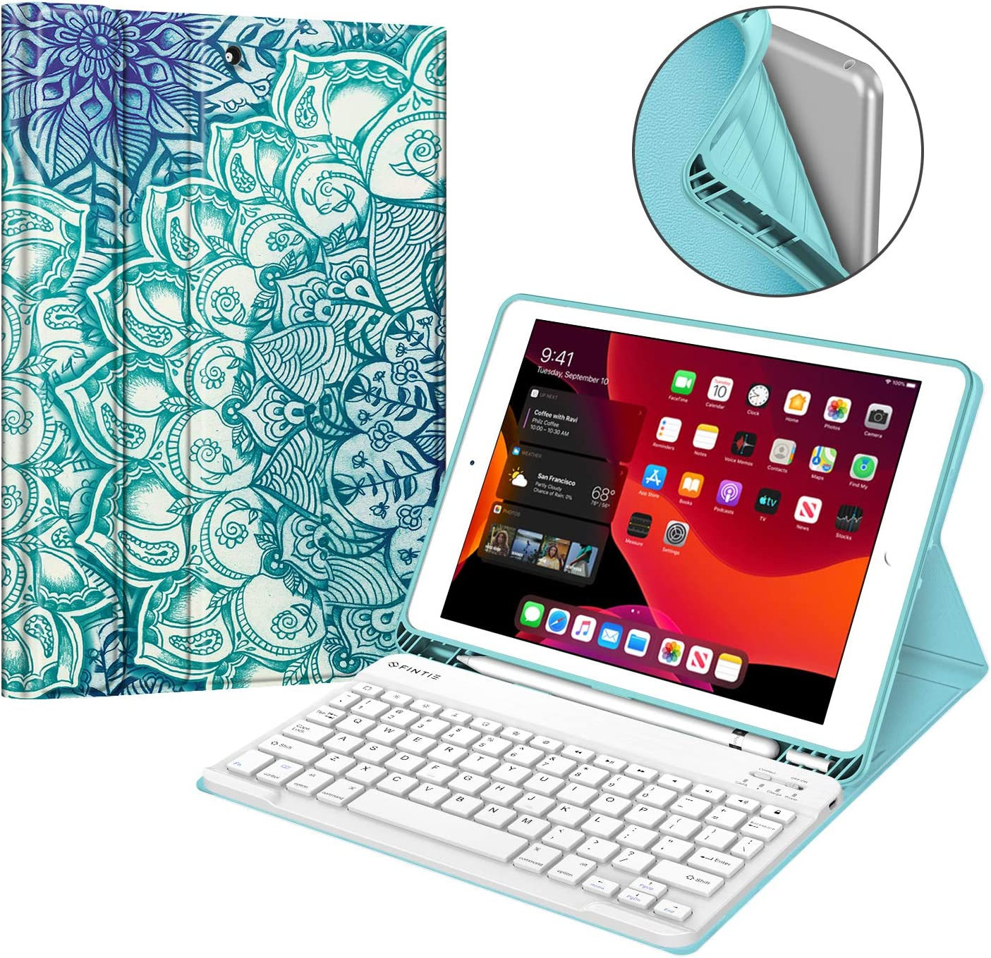 Fintie Keyboard Case for New iPad 7th Generation 10.2 Inch 2019, Soft TPU Back Stand Cover with Built-in Pencil Holder, Magnetically Detachable Wireless Bluetooth Keyboard, Emerald Illusions
