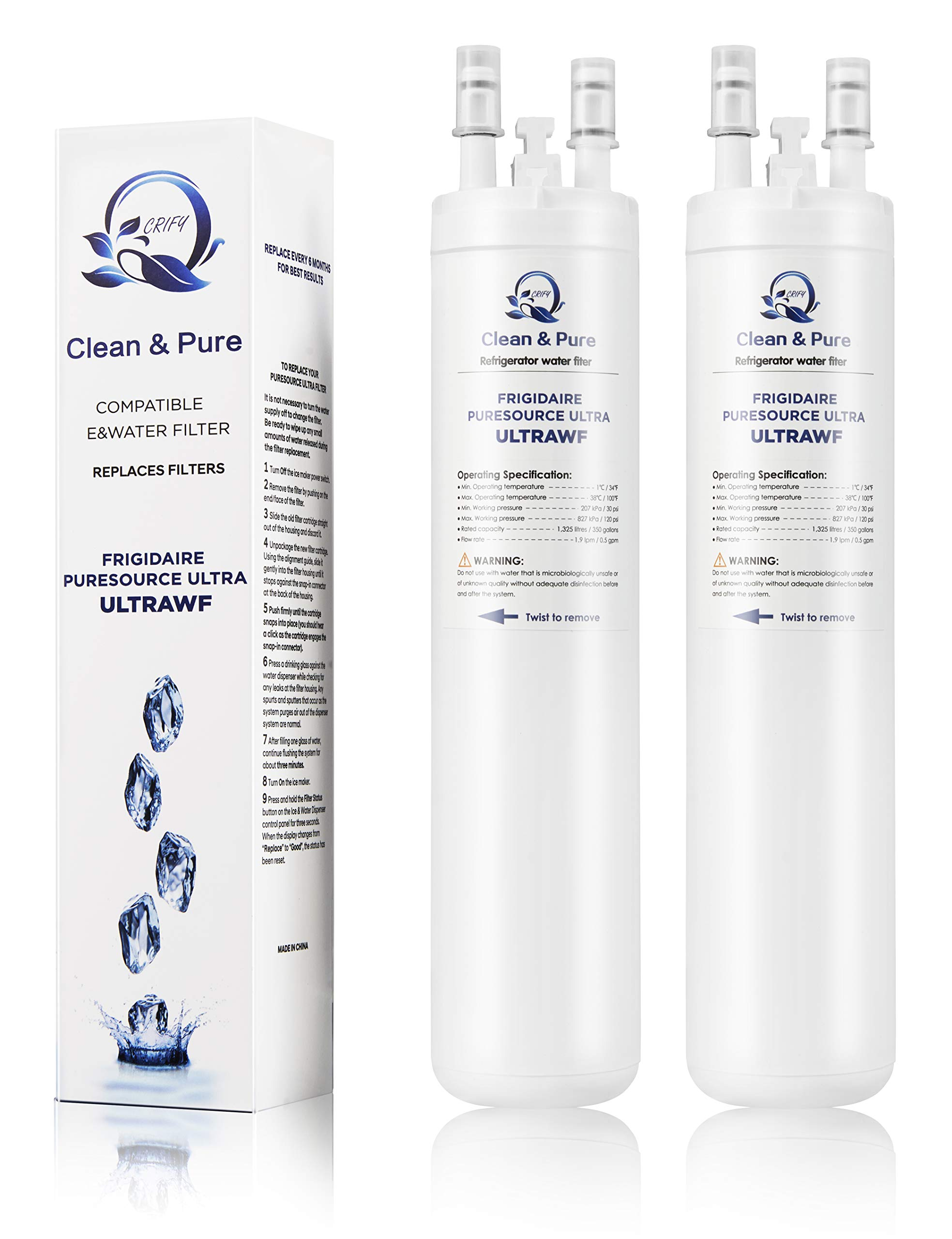 Purify 2 Pack ULTR/AWF Water Filter Compatible with Kenmore 46-9999 FGHS2631PF4A FGHC2331PF 242017800 PS2364646 Side-by-Side Refrigerators Water Filter