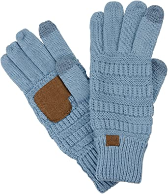 Touch Screen Gloves Stretchy Navy BLUE Unisex Womens Kids Knit one size CHARITY
