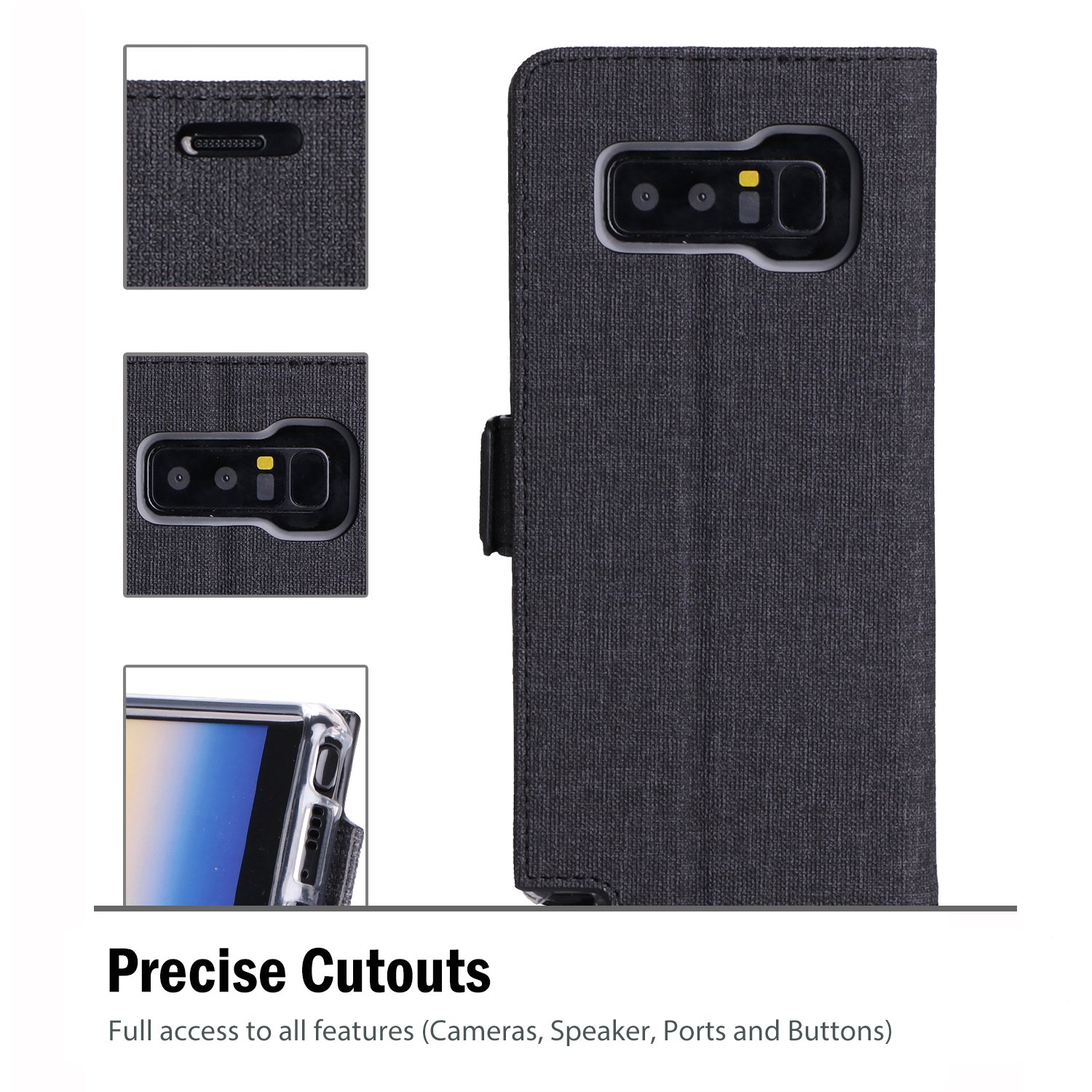 Samsung Galaxy Note 8 Wallet Case, ProCase Folio Folding Wallet Case Flip Cover Protective Case for Galaxy Note 8 2017 Release, With Card Slots and Kickstand -Black by ProCase (Image #5)