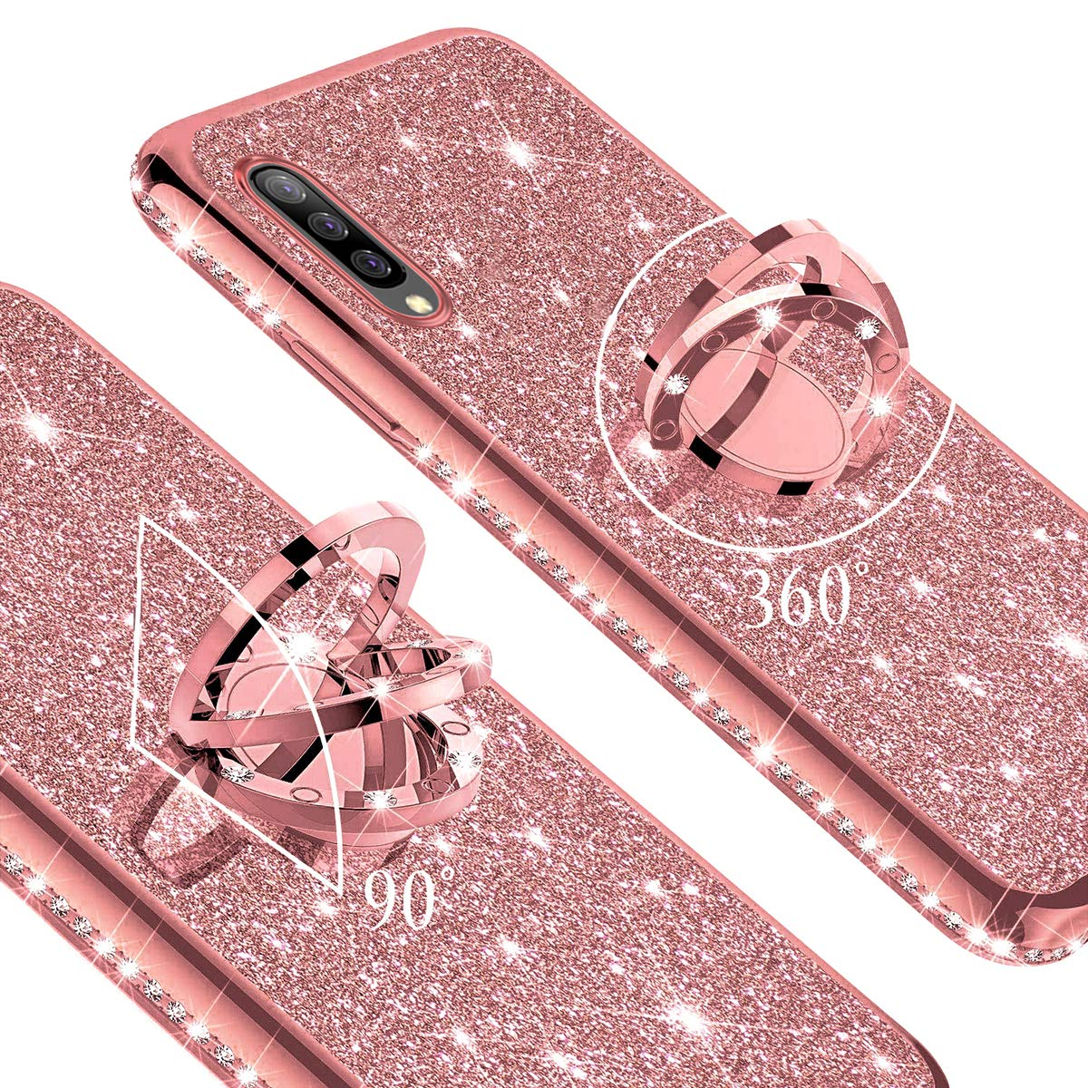Felfy Anillo Funda Compatible con Galaxy A50 Carcasa Diamante,Compatible con Funda Galaxy A50 Purpurina Brillante Brillo Cubierta con Anillo Ultra Slim Silicona TPU Glitter Bling Case-Oro Rosa