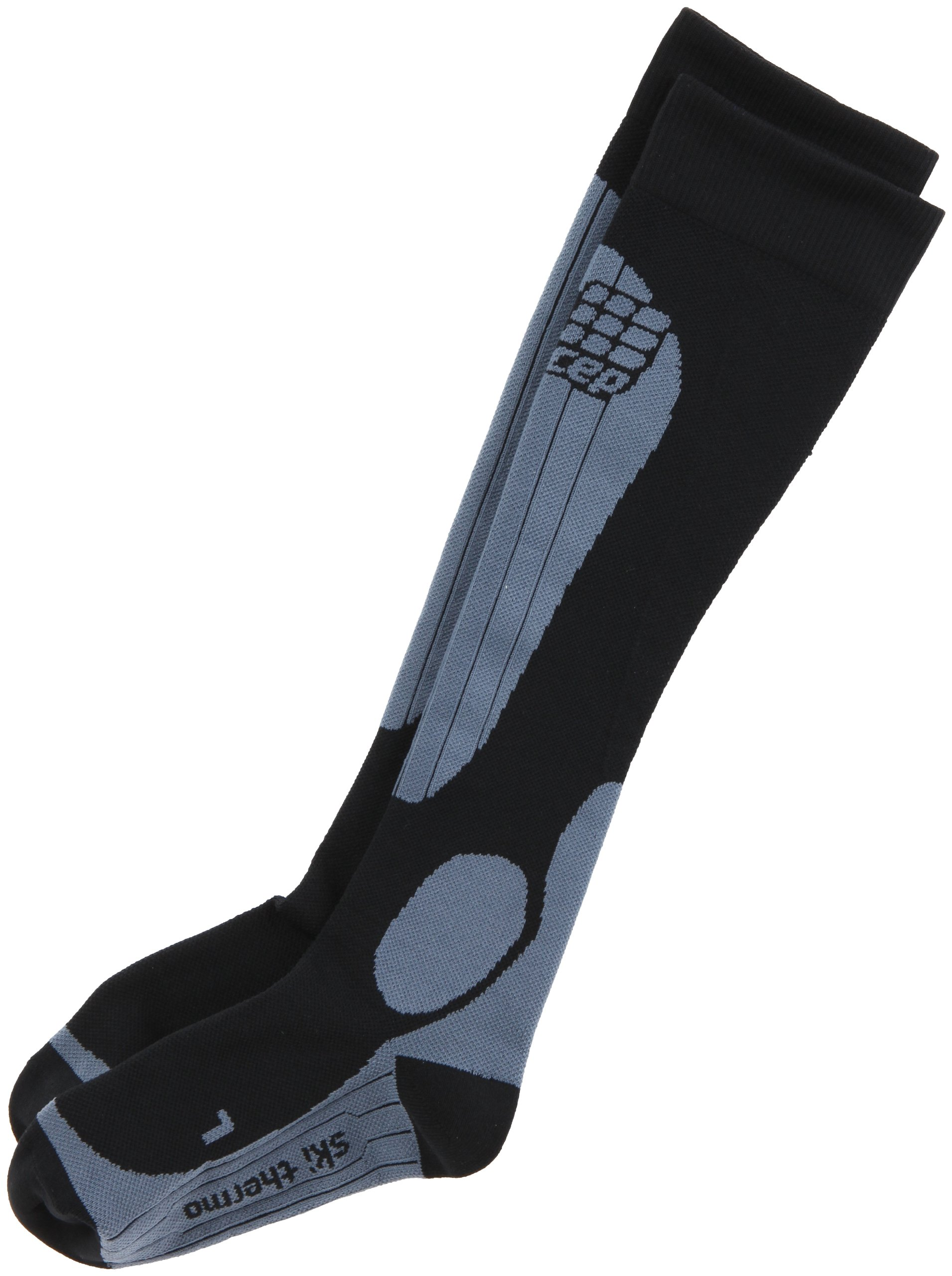 CEP Women's Progressive+ Thermo Ski Socks, Size IV (Calf 15.5-17.5-Inch), Black/Grey