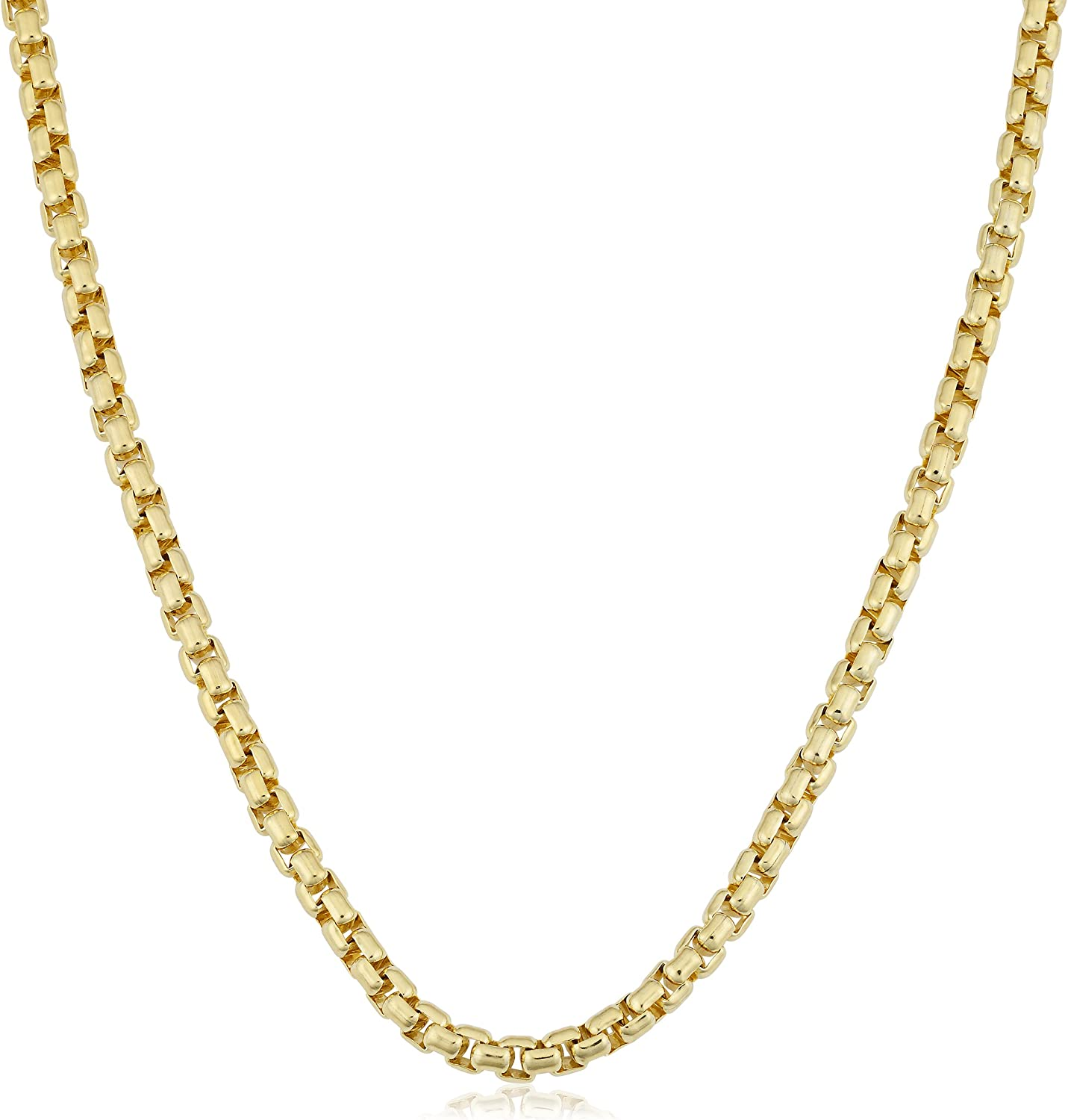 Kooljewelry 14k Yellow Gold Filled 3.5 mm Round Box Link Chain Necklace for Men Women