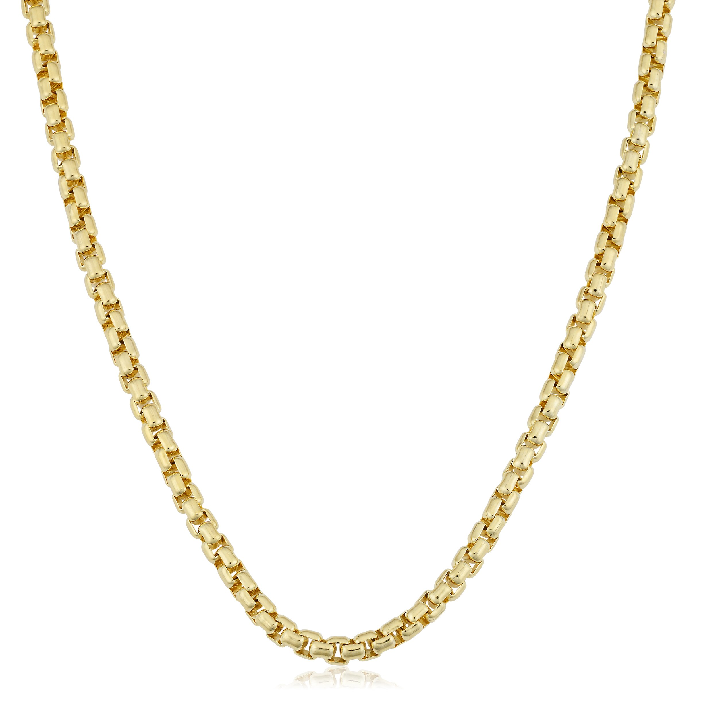 Kooljewelry 14k Yellow Gold Filled Unisex 3.5mm Round Box Link Chain Necklace (18 inch)
