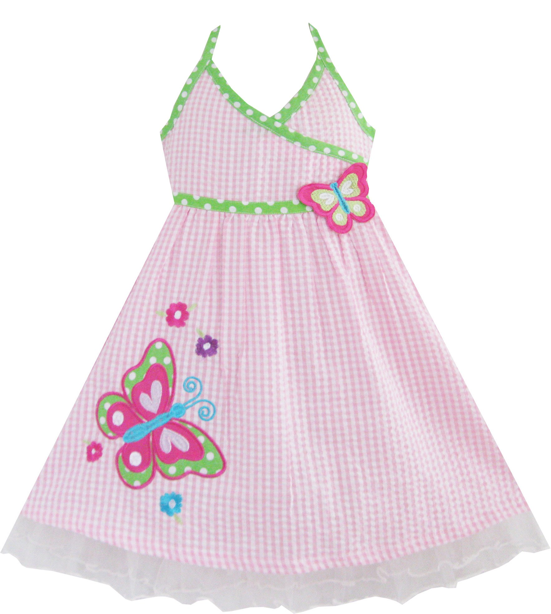 Sunny Fashion Girls Dress Pink Tartan Butterfly Embroidered Tank 12m