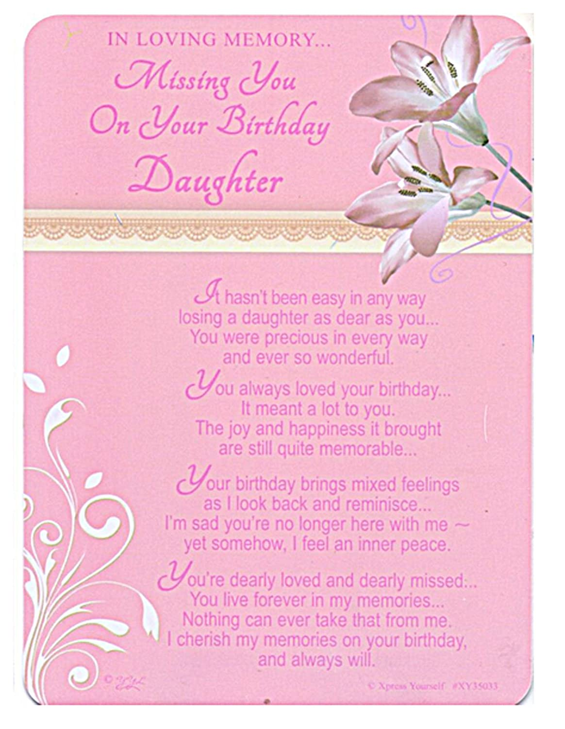 Grave//Graveside Memorial Card In Loving Memory Missing You On Your Birthday Daughter