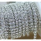 Aketek Crystal Rhinestone Close Chain Clear Trim 10 Yard Sewing Craft, 2mm - Silver color