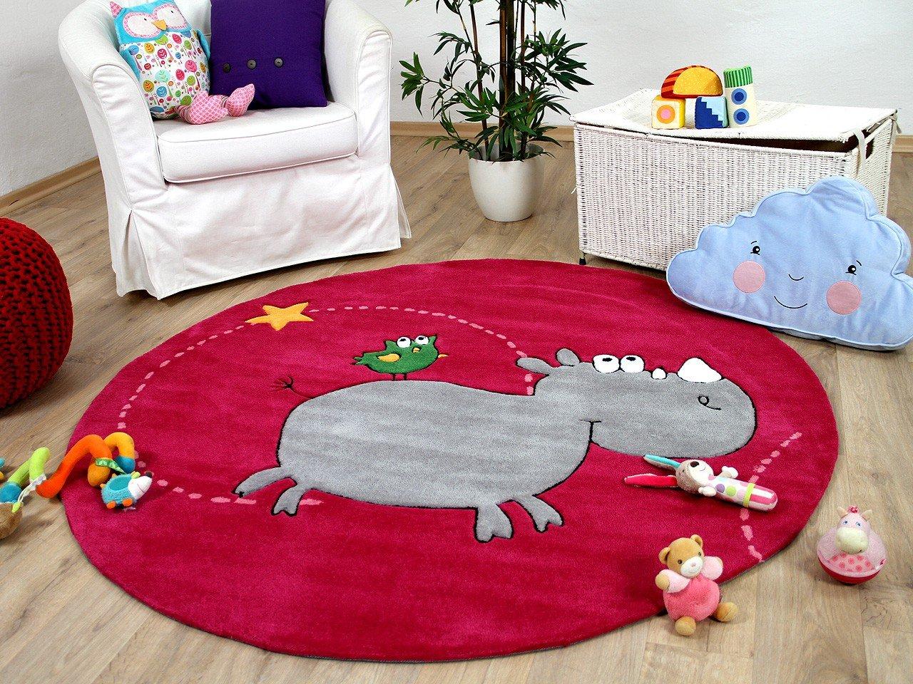 Lifestyle Kinderteppich Lustiges Nashorn Pink Rund     Sofort Lieferbar