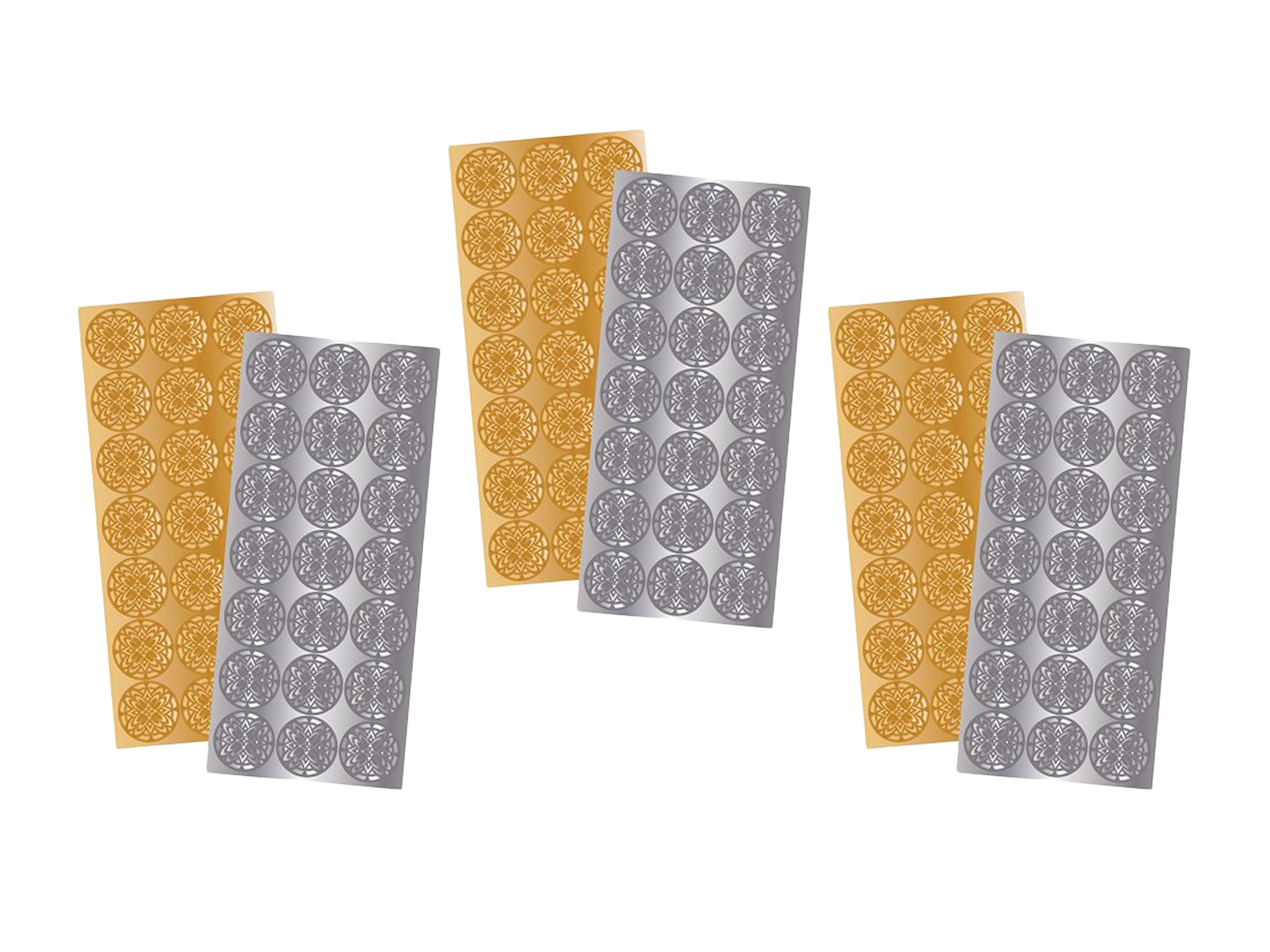 3 Pack of 2 Quality Park 21 Gold and 21 Silver Decorative Foil Envelope Seals by Maven Gifts by Essendant (Image #1)