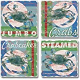 Chesapeake Bay Maryland Blue Crab Absorbent Coaster Set by Highland Graphics