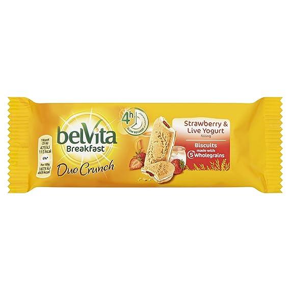 Belvita desayuno Galletas Duo Crunch Fresa y Live Yogur 50,6 g (paquete de
