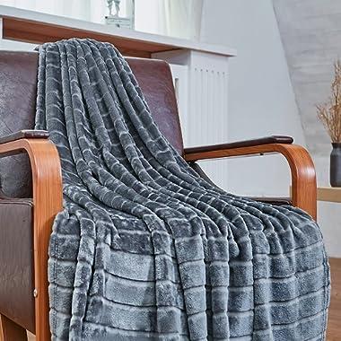 Bertte Ultra Velvet Plush Super Soft Decorative Stripe Throw Blanket-50 x 60 , Dark Grey