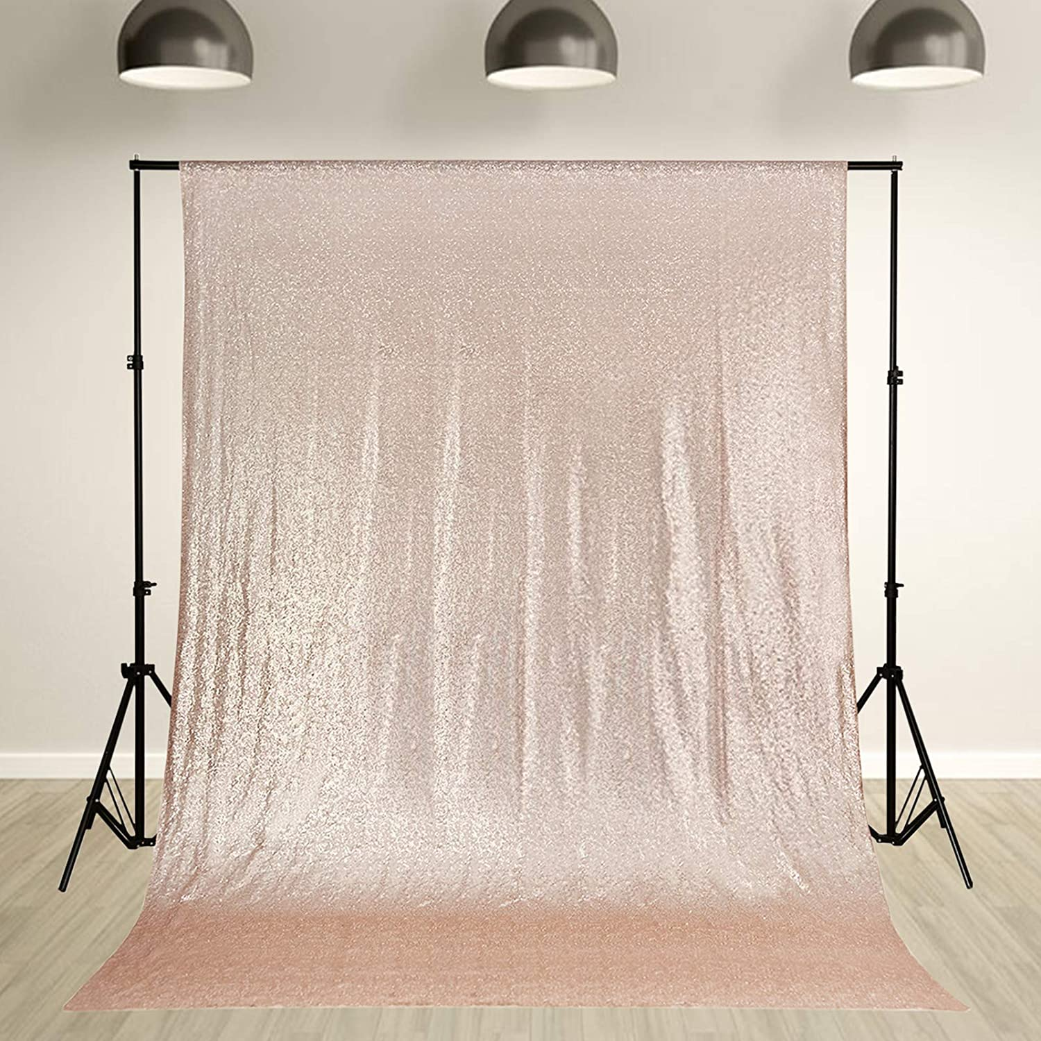 Blue 8 ft x 8 ft Sequined Backdrop Curtain Wedding Party Booth Decorations