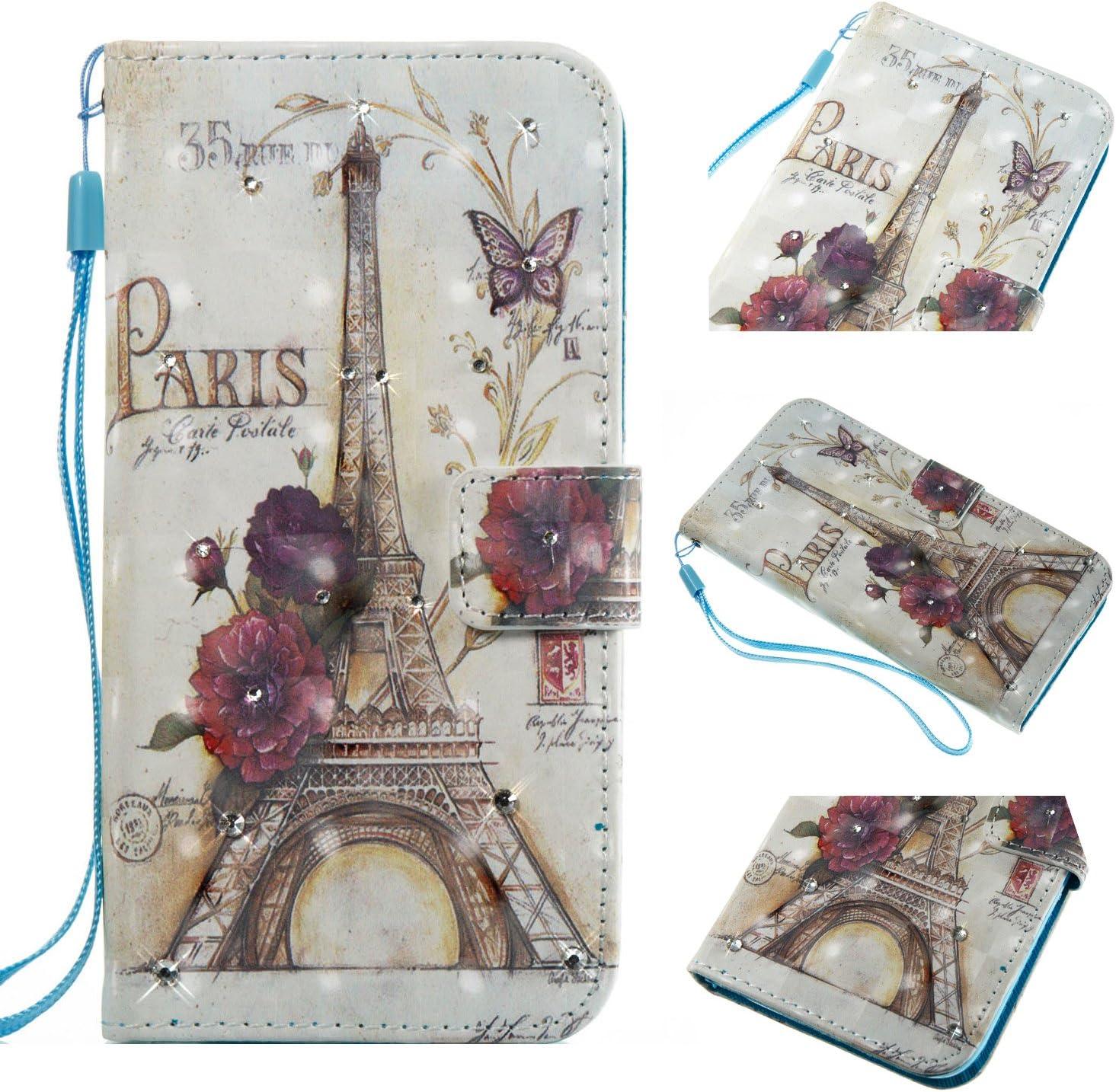 iPhone 8 Plus Diamond Case, Eiffel Tower Paris Style 3D Painted Crystal Folio Strap Wallet Case for Apple iPhone 8 Plus/iPhone 7 Plus 5.5