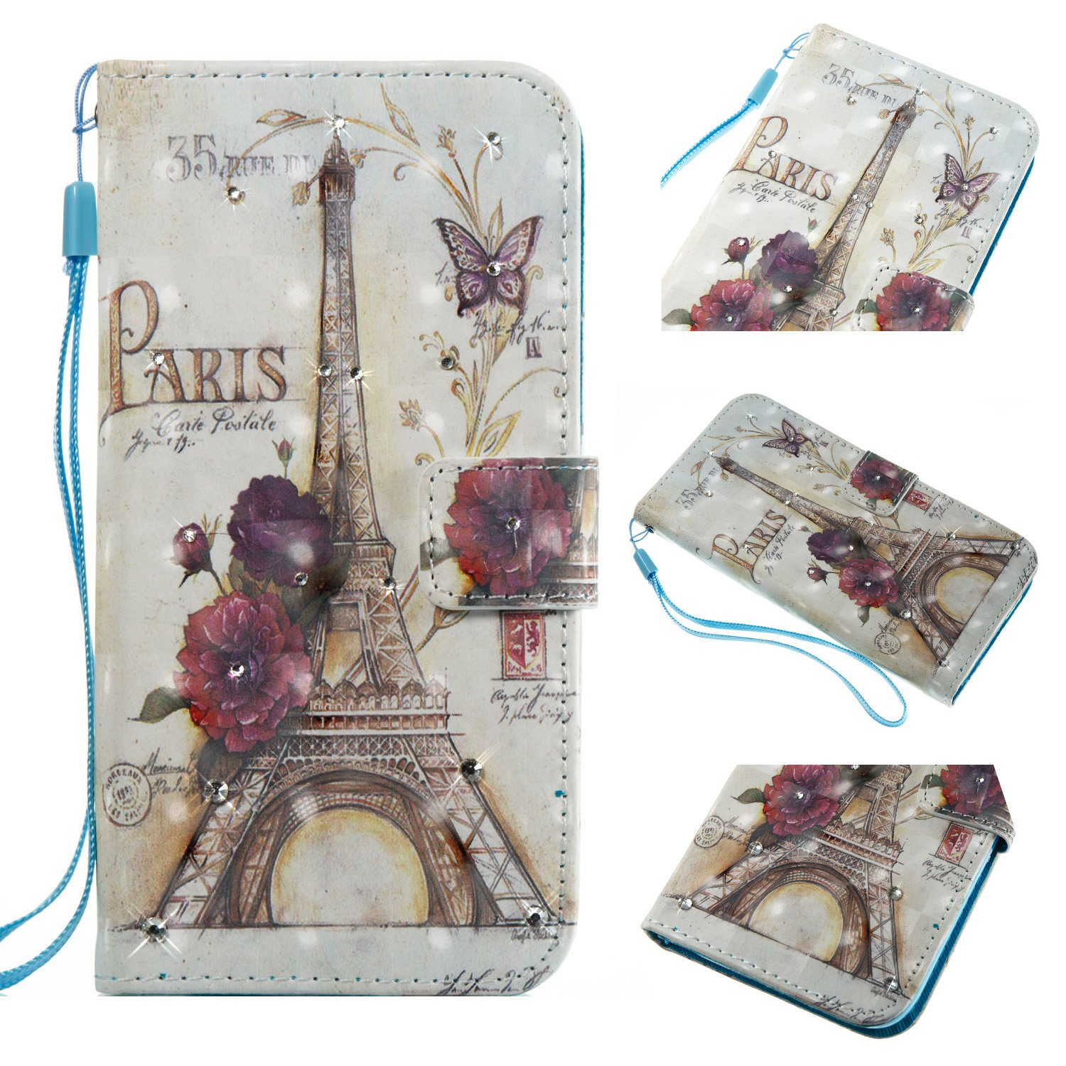 Iphone 8 Plus Diamond Case Eiffel Tower Paris Style 3d Painted Crystal Folio Strap Wallet Case For Apple Iphone 8 Plus Iphone 7 Plus 5 5 With