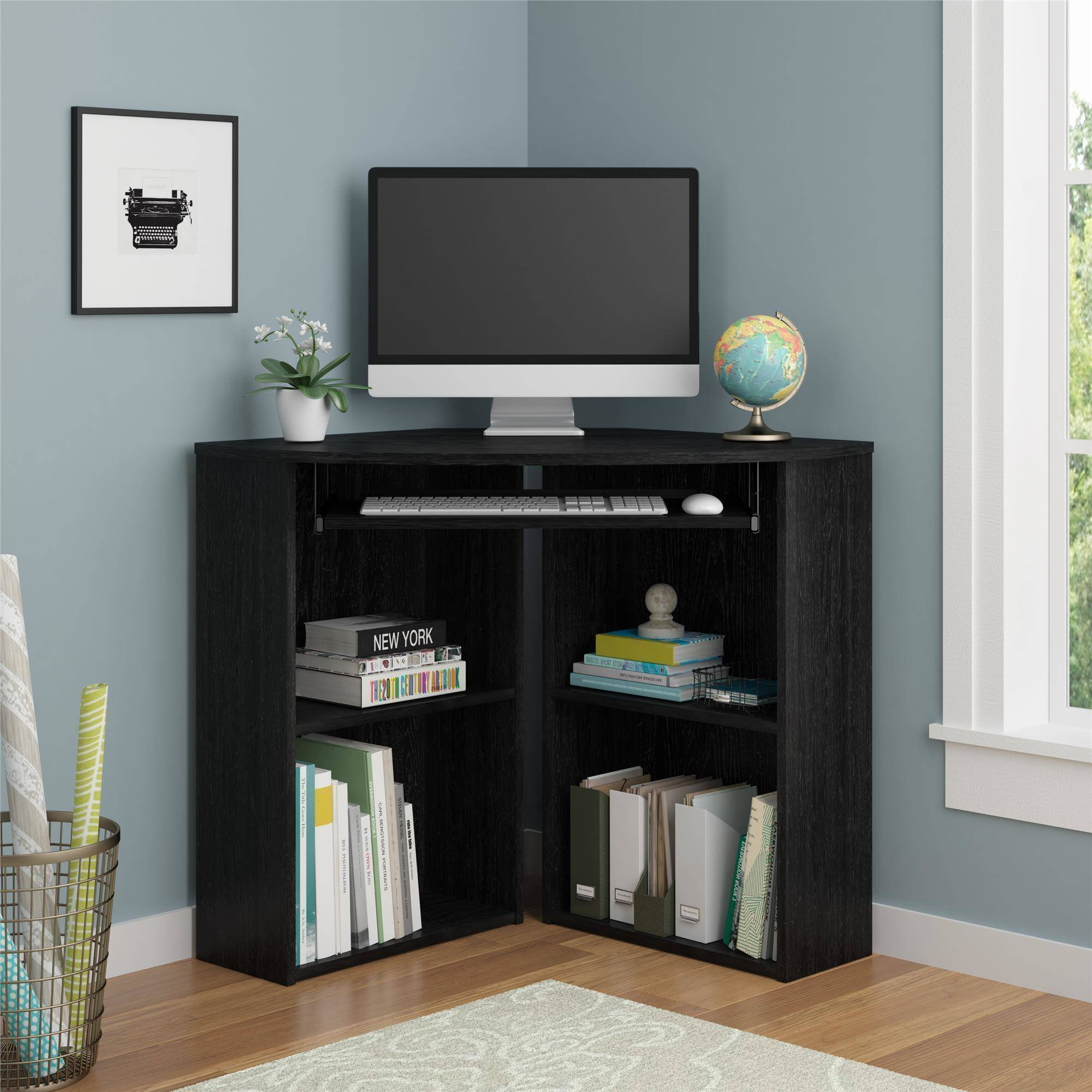 Space Saving Wooden Corner Desk Furniture with Large Space Workstation and 4 Wide Storage Decks, Great Organizer for Studying at Home, Available Black Finish (L: 39.69 x W: 39.60 x H: 30.10 Inches)