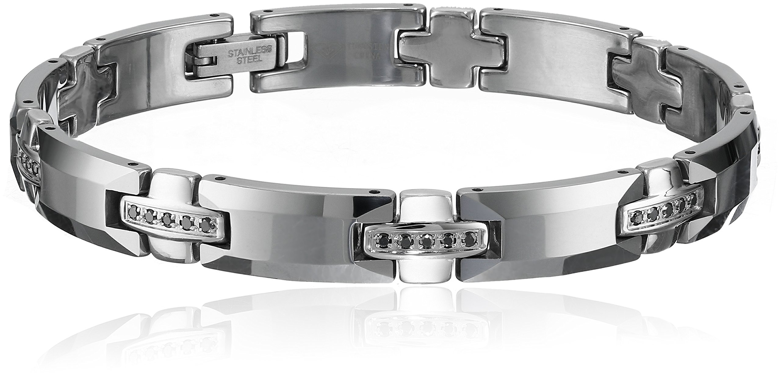 Men's Tungsten-Stainless Steel 1/2 cttw Black Diamond Bracelet