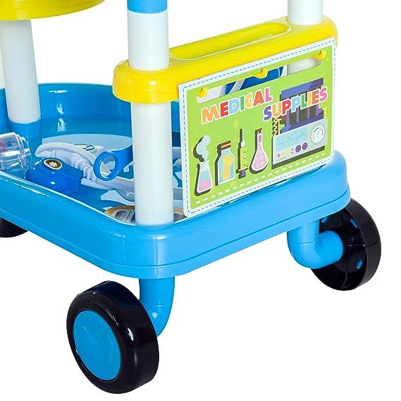 HOMCOM Juego de Médico 37 Pcs Carrito Médico Juguete Clínica de Juguete Niños +3 Años +3 Años Carro Doctor 47x30x55cm PP: Amazon.es: Juguetes y juegos