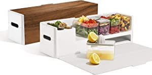Prepdeck Recipe Preparation Kit and Storage, 8 Premium Prepping Tools, Cutting Board with 15 Tritan Plastic Food Containers with Lids, Removable Trash Bin, Microwave and Top-Rack Dishwasher Safe.