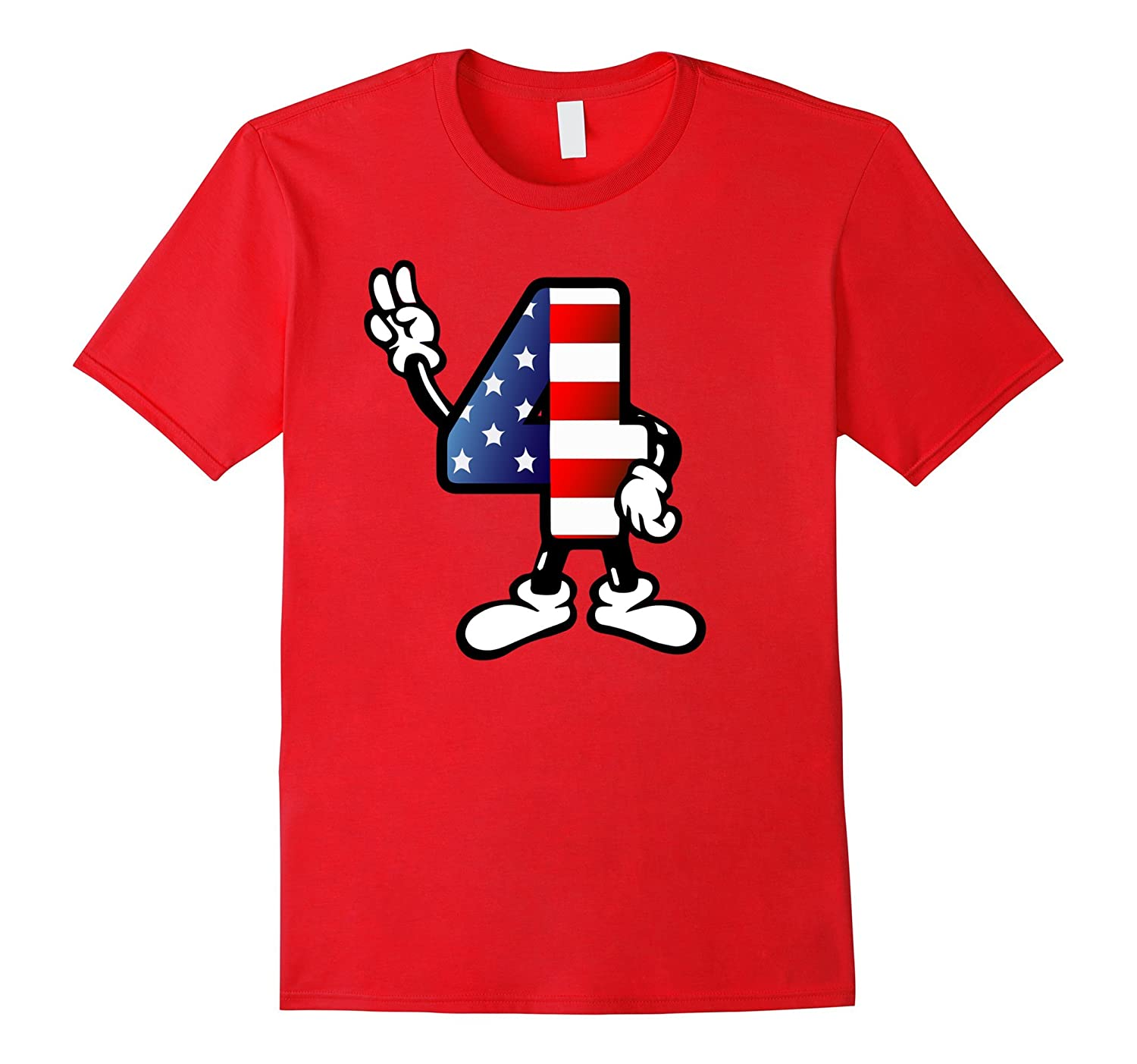 4th of July Shirt with American Flag and Peace Sign-PL