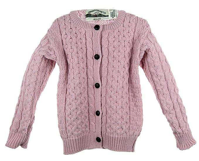 Irish Merino Wool Aran Little Girl/'s Button Sweater