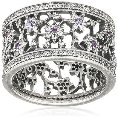 82ef9fef4 Amazon.com: PANDORA Silver & Purple Cz Forget Me Not Ring, 52: Jewelry