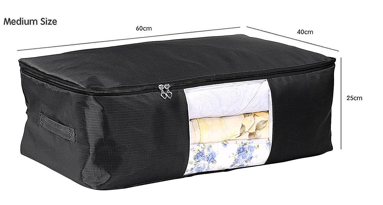EVST Bolsa de almacenamiento para ropa debajo de la cama bolsa de almacenamiento de tela Oxford Plaid 60 x 40 x 25 cm
