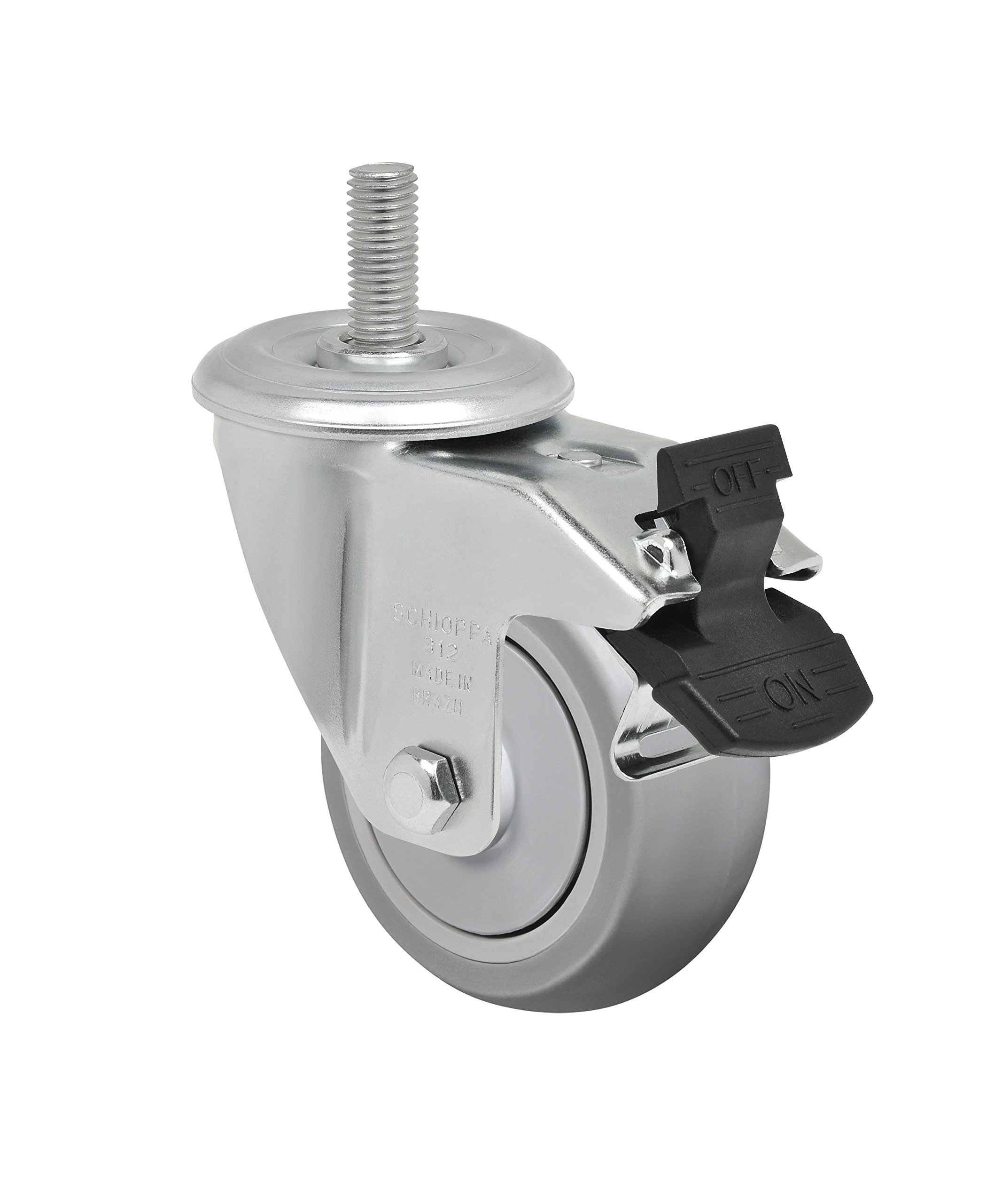 Schioppa L12 Series, GLEEF 312 SP G, 3 x 1-1/4'' Swivel Caster with Total Lock Brake, Non-Marking Extra Soft Thermoplastic Rubber Wheel, 125 lbs, 3/8'' Diameter x 1-1/2'' Length Threaded Stem