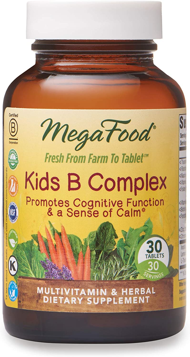 MegaFood, Kids B Complex, Promotes Cognitive Focus and a Sense of Calm, B Vitamin Supplement, Vegetarian, 30 tablets (30 servings)