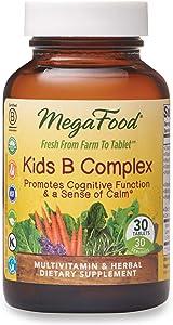 MegaFood, Kids B Complex, Promotes Cognitive Focus and a Sense of Calm, B Vitamin Supplement, Vegetarian, 30 tablets (30 servings)