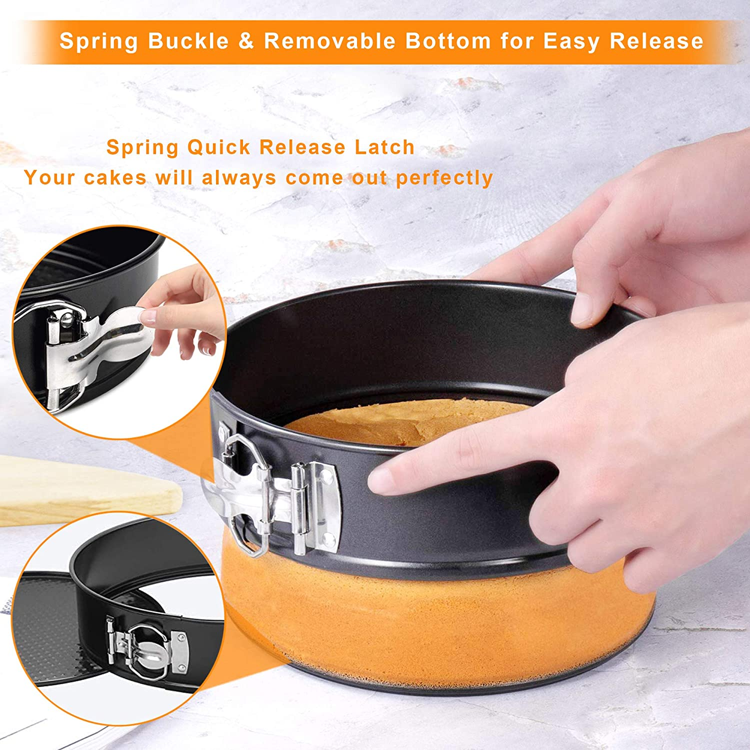 Leakproof Round Cake Pan 4 7 9 10 inch Set of 4 Lets Baking Nonstick Cheesecake Pan 4+7+9+10 inch Springform Pan Set Heavy Carbon Steel Detachable Bakeware For Instant Port 6QT or 8QT by HYTK