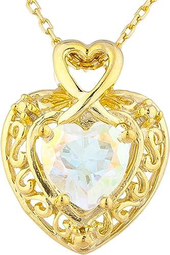 14Kt Yellow Gold Plated Natural Mercury Mist Mystic Topaz /& Diamond Heart Ring