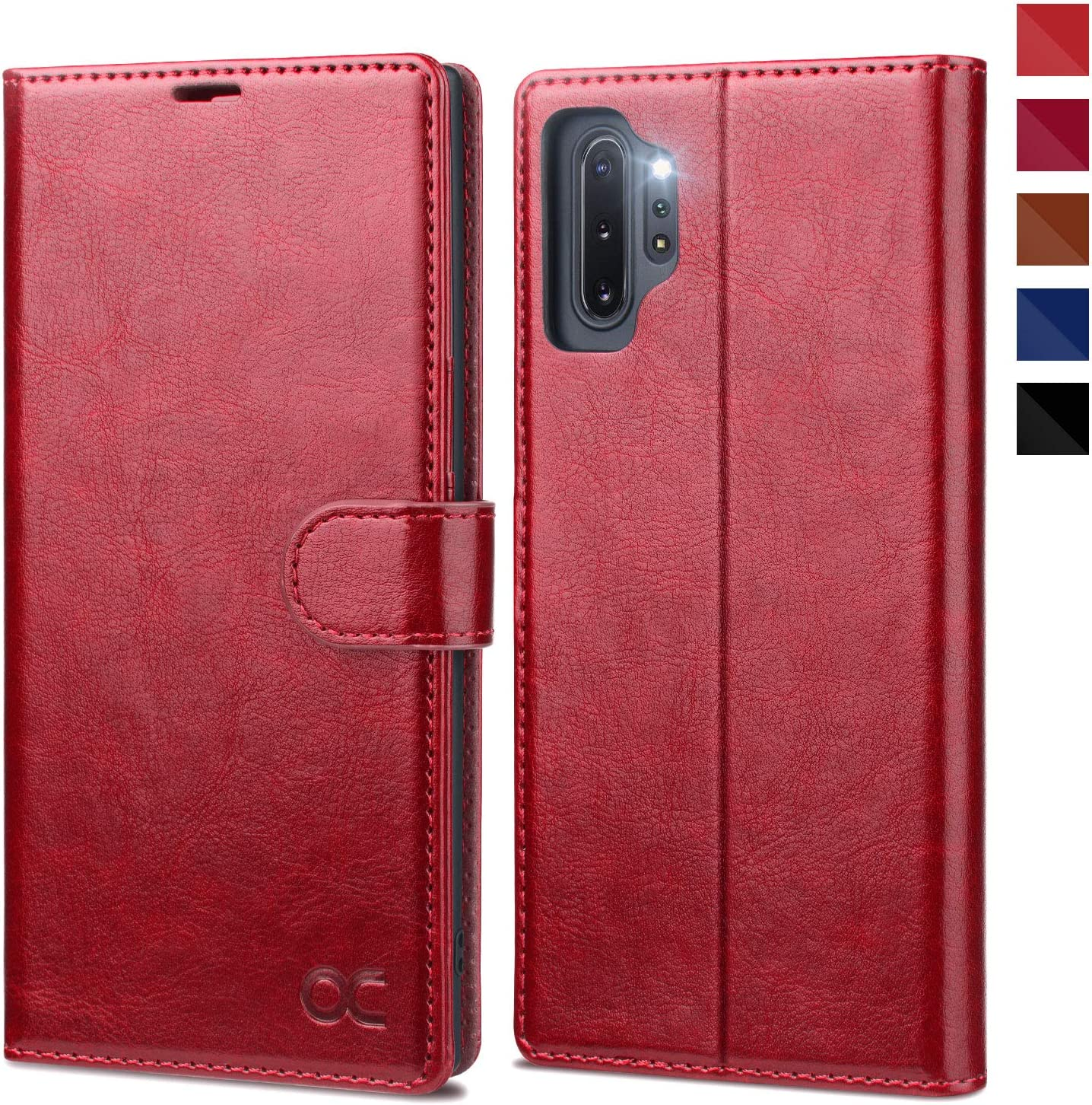 OCASE Galaxy Note 10 Plus Wallet Case, Note 10 Plus 5G Leather Flip Case with Card Holder Kickstand and Magnetic Closure, TPU Shockproof Phone Cover for Samsung Galaxy Note10 Plus 6.8 Inch (Red)