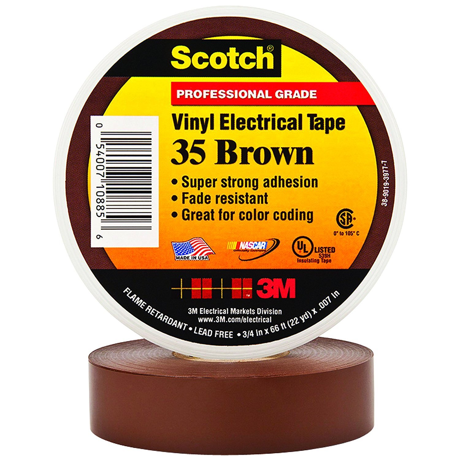 BOX USA BT96403510PKN Brown 3M 35 Electrical Tape, 7 mil, 3/4'' x 66' (Pack of 10)