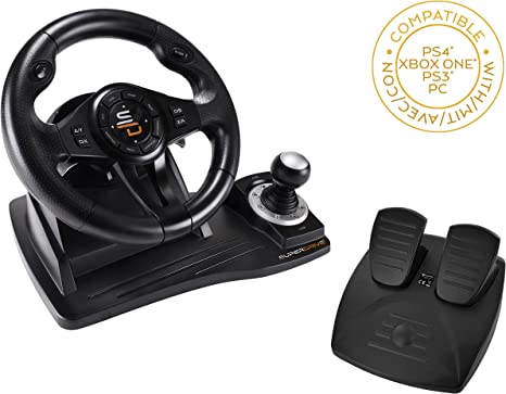 Subsonic Superdrive - volante de carreras GS500 con pedales, paletas y palanca de cambios PS4, Xbox One, PC, PS3 (todos los juegos) (PS4): Amazon.es: Videojuegos