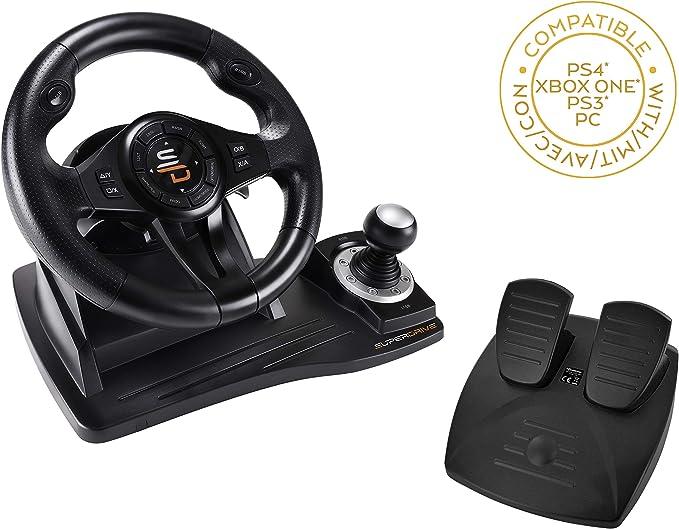 Oferta amazon: Superdrive - Volante de carreras GS500 con palanca de cambios, pedal y vibraciones para PS4, Xbox One, PC, PS3