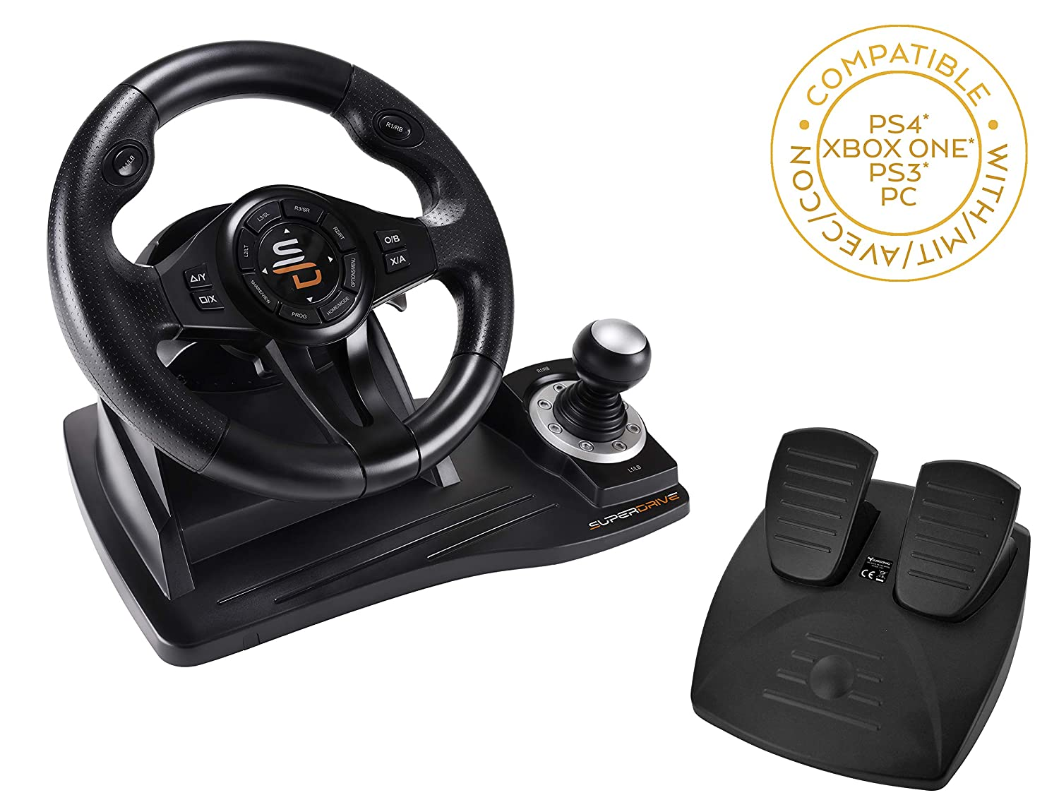 Superdrive Racing Steering Wheel Gs500 With Gear Lever Pedal And Vibrations For Ps4 Xbox One Pc Ps3 Video Games
