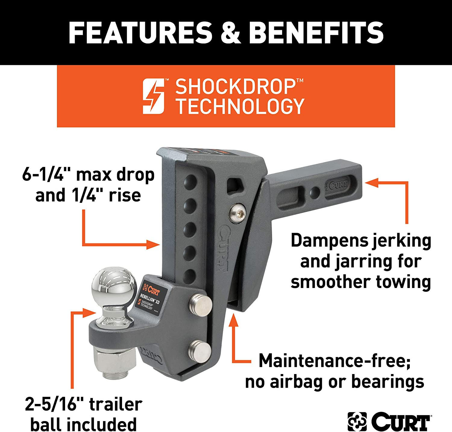 6-1//4-In Drop 2-in Receiver CURT 45980 Rebellion XD Adjustable Cushion Hitch 2-5//16-In Ball 15,000 lbs