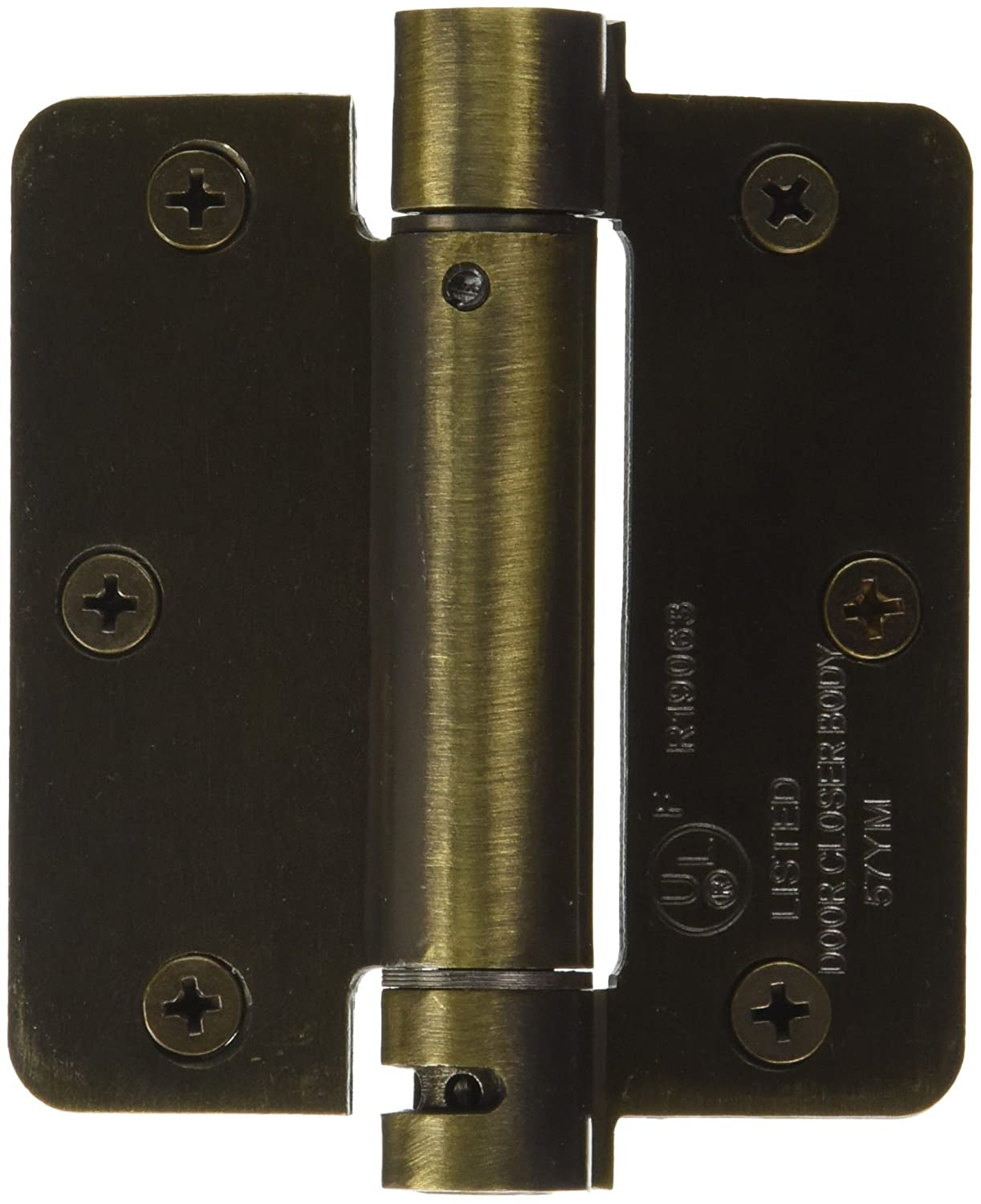 Deltana DSH35R44 Single Action Steel 3 1//2-Inch x 3 1//2-Inch x 1//4-Inch Spring Hinge