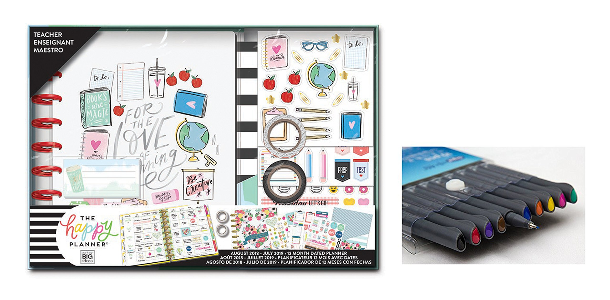 me & my BIG ideas Create 365 The Happy Planner, Medium Box Teacher Edition Love of Learning, 12 Month Planner, Aug 2018 - July 2019 Comes With Kemah Craft Fineliner 10 Pc Color Pens (Bundle Box-182)