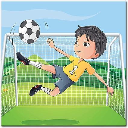 De impresión – Niños de Dibujos Animados – Futbolín, 80 x 80 cm ...