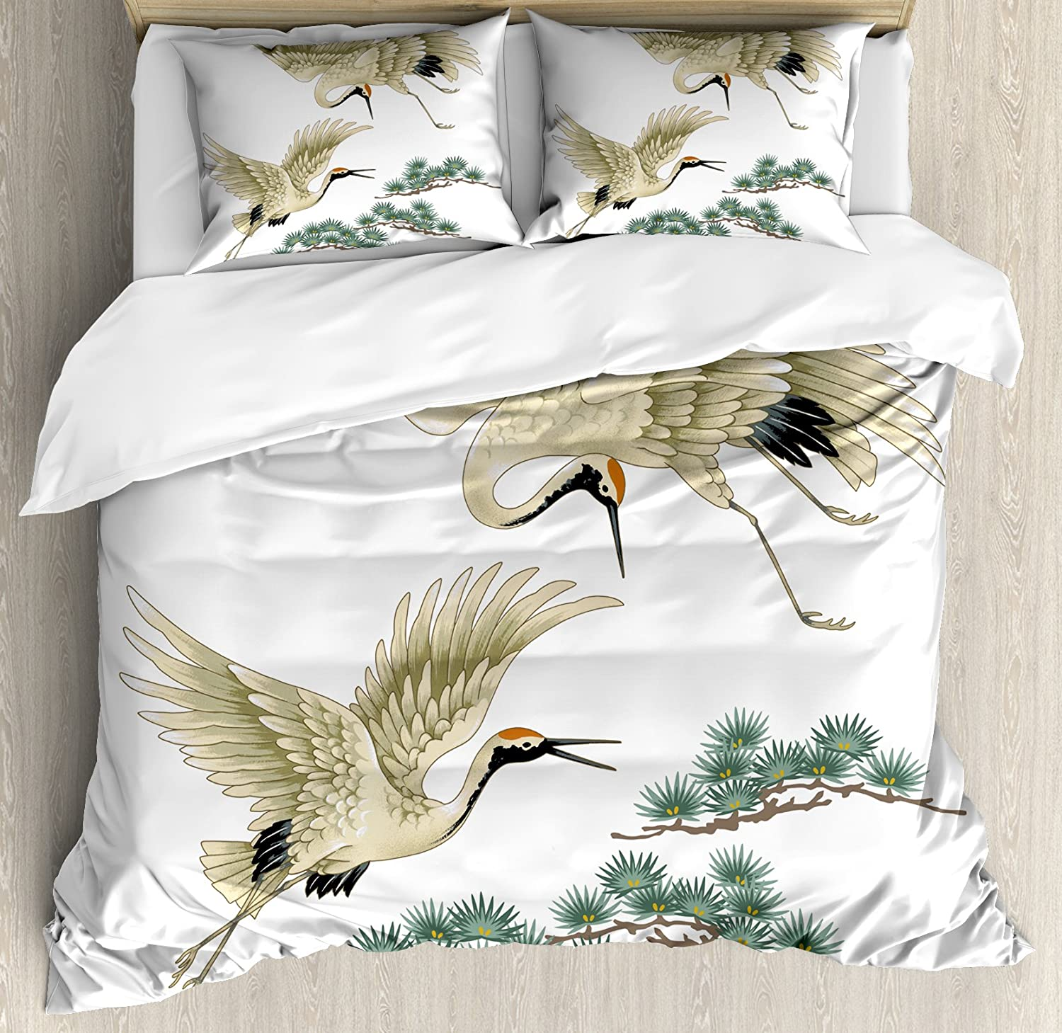 Lunarable Bird Duvet Cover Set, 2 Japanese Cranes Flying Traditional Painting Style Far Eastern Illustration, Decorative 3 Piece Bedding Set with 2 Pillow Shams, King Size, Black Ivory