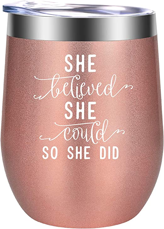 2021 Graduation Gifts - She Believed She Could So She Did - High School, College Graduation Gifts for Her 2021, Masters Degree Graduation Gifts - Inspirational Gifts, New Job Gifts - GSPY Wine Tumbler