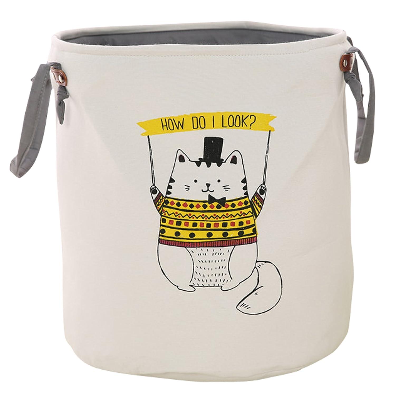 HIYAGO Storage Baskets,Cotton Foldable Round Home Organizer Bin for Baby Nursery,Toys,Laundry,Baby Clothing,Gift Baskets(Elephant)